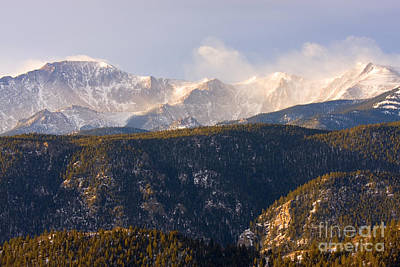 Steven Krull Royalty-Free and Rights-Managed Images - Snowy Pikes Peak by Steven Krull