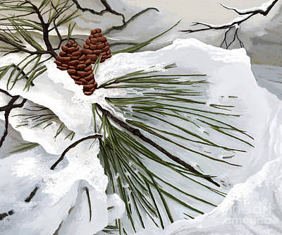 Drifting Snow Digital Art - Snowy Pine  by Jackie Case