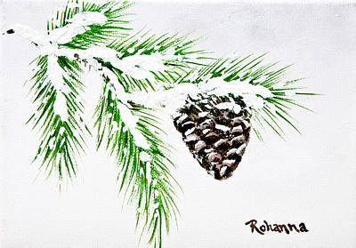 Painting - Snowy Pine by Judy M Watts-Rohanna