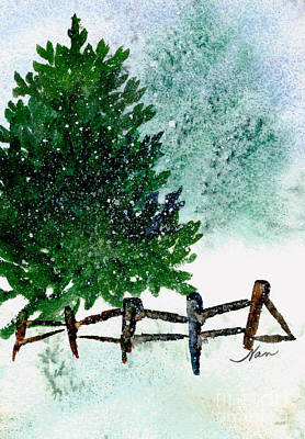 Painting - Snowy Pine Tree In A Blizzard by Nan Wright