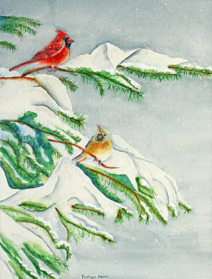 Snowy Pines And Cardinals Print by Kathryn Duncan
