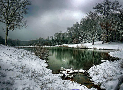 Photograph - Snowy Pond by Linda Shannon Morgan