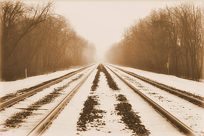 Mixed Media - Snowy Railroad by Trish Tritz