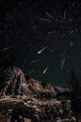 Snowy Range Perseids Meteor Shower Art Print by David Kingham