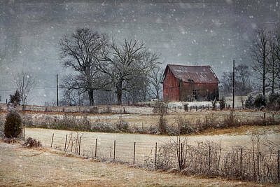 Photograph - Snowy Red Barn by Carol Erikson