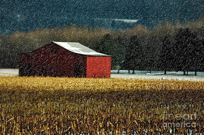 Red Barn In Winter Digital Art - Snowy Red Barn In Winter by Lois Bryan
