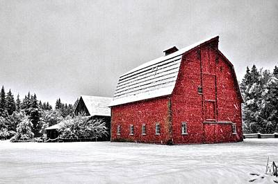 Photograph - Snowy Red Barn by Scott Holmes