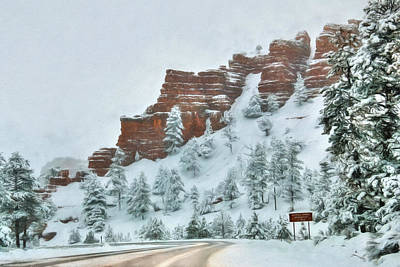 Digital Art - Snowy Red Canyon by Lori Deiter