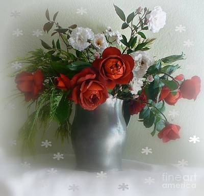 Photograph - Snowy Red Roses by Diana Besser