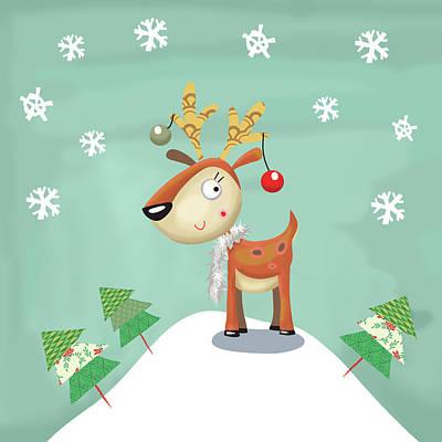 Reindeer Painting - Snowy Reindeer by P.s. Art Studios