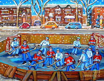 Snowy Rink Hockey Game Montreal Memories Winter Street Scene Painting Carole Spandau Art Print by Carole Spandau