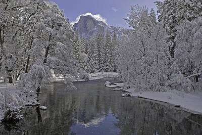 Snowy River And Half Dome Art Print