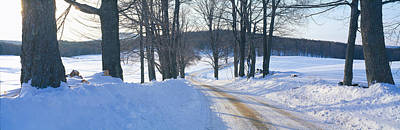 Vermont Wilderness Photograph - Snowy Road At Sunset, Near Woodstock by Panoramic Images