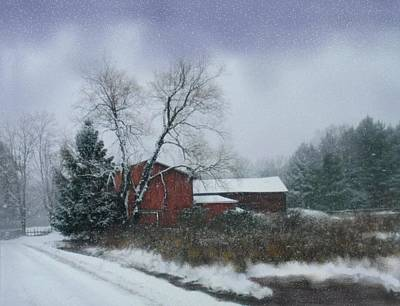 Snowstorm Mixed Media - Snowy Road With Barn by Linda Seifried