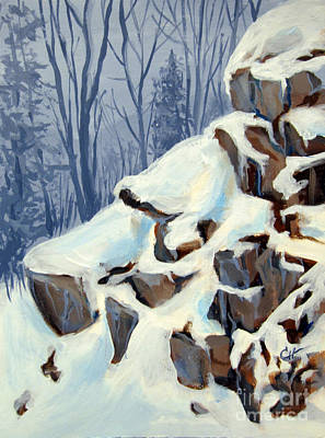 Art Print featuring the painting Snowy Rocks by Carol Hart