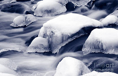Art Print featuring the photograph Snowy Rocks by Liz Leyden