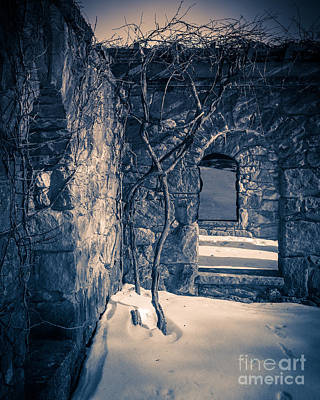 Creepy Photograph - Snowy Ruins At Night by Edward Fielding
