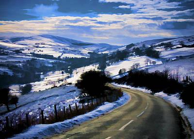 Snowy Scene And Rural Road Art Print
