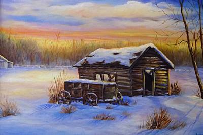Pastel Barns Painting - Snowy Shelter by Laurine Baumgart