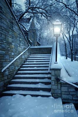 Snowy Stairway Art Print by Jill Battaglia