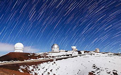 Photograph - Snowy Star Trails by Jason Chu