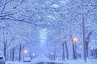 Photograph - Snowy Street by Daniel Sheldon