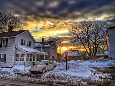 Blue Car Photograph - Snowy Sunset by HD Connelly