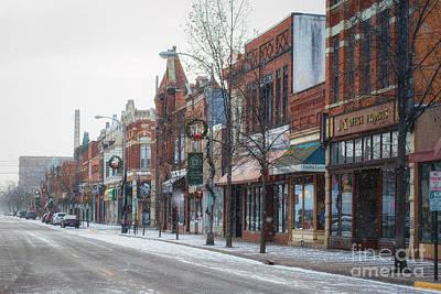 Snowy Third Street Downtown Winona II Art Print