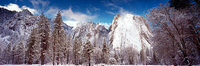 Cathedral Rock Photograph - Snowy Trees With Rocks In Winter by Panoramic Images