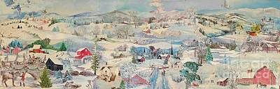 White House Mixed Media - Snowy Village - Sold by Judith Espinoza
