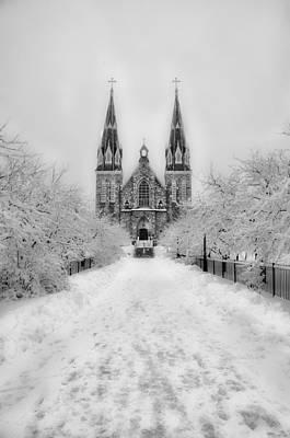 Snowy Villanova In Black And White Art Print by Bill Cannon