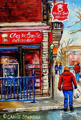 Snowy Walk By The Tea Room And Pastry Shop Winter Street Montreal Art Carole Spandau  Print by Carole Spandau