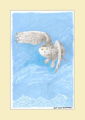 Yellow Beak Painting - Snowy White Owl Art by Jack Pumphrey