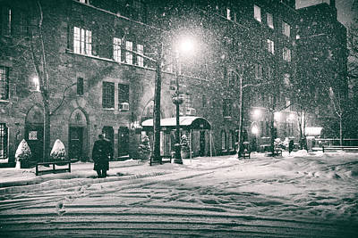 Snowy Winter Night - Sutton Place - New York City Art Print by Vivienne Gucwa