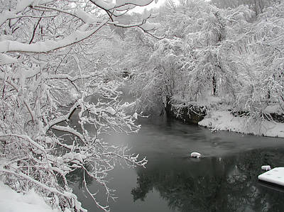Snowy Wissahickon Creek Art Print by Bill Cannon