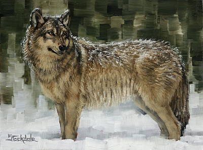 Painting - Snowy Wolf by Margaret Stockdale