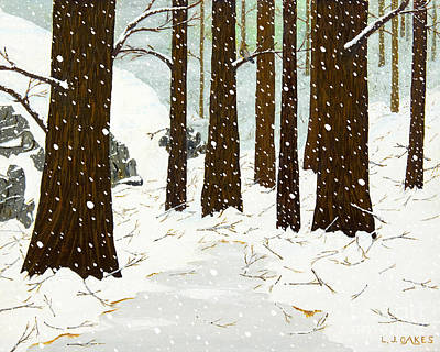 Painting - Snowy Woods by L J Oakes