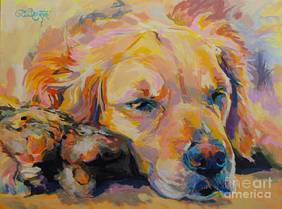 Golden Retriever Painting - Snuggle Bunny by Kimberly Santini