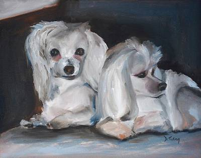 Maltese Painting - Snuggles And Sarge The Maltese by Donna Tuten