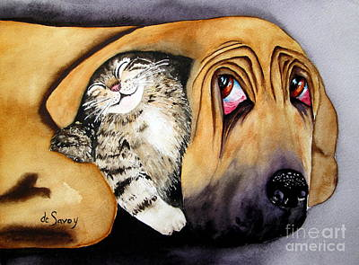 Painting - Snuggles by Diane DeSavoy