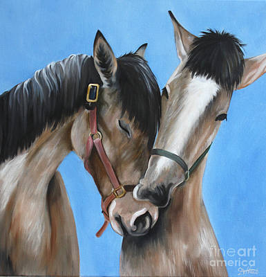Painting - Snuggling Siblings by Debbie Hart