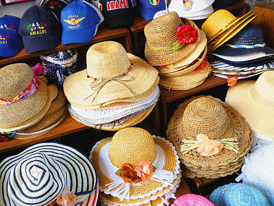 Photograph - So Crazy For Hats Amalfi Market Italy Summer by Irina Sztukowski