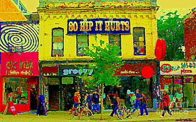 Painting - So Hip It Hurts Clik Clak Fashion Studio Queen St West Paintings Of Downtown Toronto City Scenes   by Carole Spandau