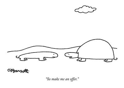 Salamanders Drawing - So Make Me An Offer by Charles Barsotti