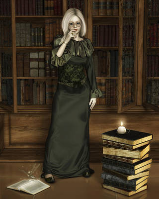 Library Digital Art - So Many Books... by Rachel Dudley