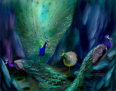 So Many Peacocks Art Print by Carol Cavalaris