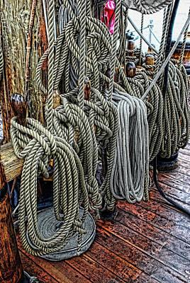 Tall Ship Mixed Media - So Many Ropes by Don Bendickson