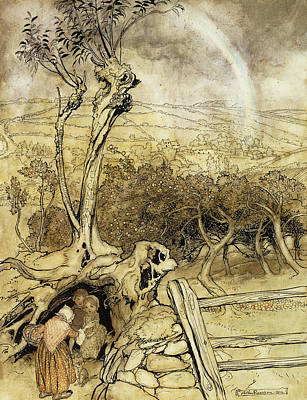 Fanciful Painting - So Nobody Can Quite Explain Exactly Where The Rainbows End by Arthur Rackham