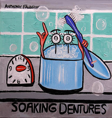 Painting - Soaking Dentures by Anthony Falbo