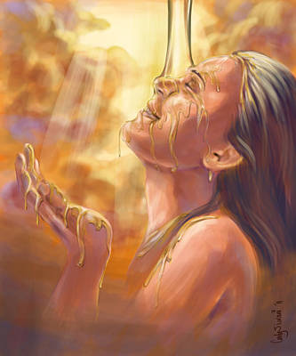 Prophetic Art Wall Art - Digital Art - Soaking In Glory by Tamer and Cindy Elsharouni